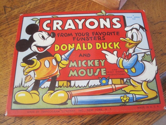 crayon boxed set vintage Mickey Mouse Donald Duck