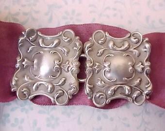 Gorgeous Art Nouveau Repousse Sterling Silver 2 Piece Sash Buckle