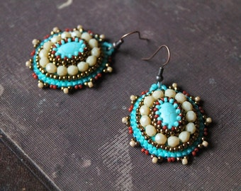 Embroidery Earrings Turquoise Earrings Beadwork earrings Bead embroidered jewelry Turquoise Beige Copper Earrings Ethnic Earrings Turquoise