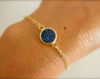 Vermeil blue druzy bracelet with gold filled chain