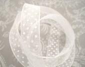 White Swiss Dot Organza Ribbon 5/8 -- 4 yards -- 16mm