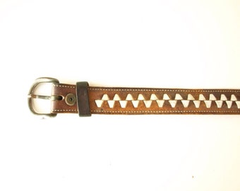 Vintage 60s distressed brown and white leather zigzag belt mens or womens S or M