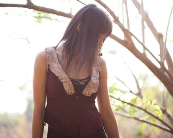 Leather suede steampunk vest,  leather pixie vest, burning man leather vest, biker leather vest