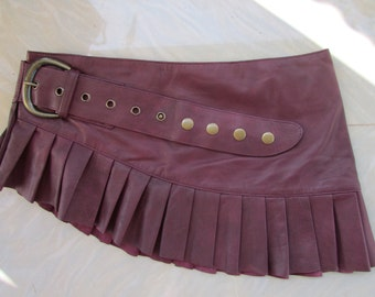 leather steampunk mini skirt wrap around leather burning man  skirt  cherry antique look red/ burgundy
