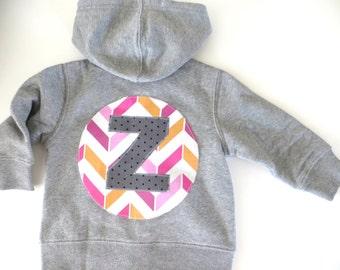 Hoodie sweatshirt chevron tribal modern toddler or baby  monogram- initial hoodie custom Patches and Puppies