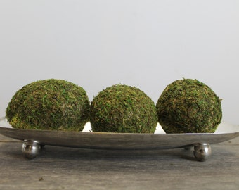 Vintage 1950s Footed Silverplate Tray With Moss Covered Eggs // Mod Easter // W & S Blackinton // Modern Garden Room