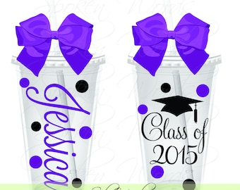 Class of 2017  Personalized acrylic tumbler - Great Graduation Gift - Your choice of color BPA free