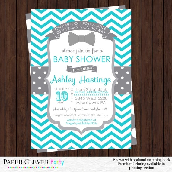 boy bow tie baby shower invitations gray and aqua boys bowtie baby