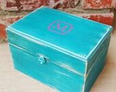 Teal and Pink SHABBY CHIC Small wood Trinket box, Keepsake box, Memory Box