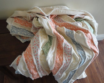 Tangerine Blue Green SUMMER Quilt Rag Quilt Cotton Blanet Large Throw Blanket Shabby Cottage Chic  Vintage Quilt