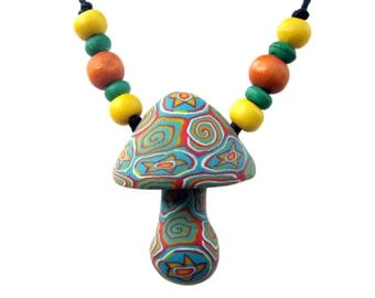 Tribal mushroom pendant, millefiori tribal patterns, handmade from polymer clay with stars and spirals, tribal mushroom necklace, with beads
