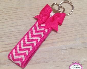 Pink Chevron Wristlet - Key Chain - Key Fob