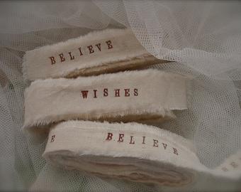 5 yards handstamped muslin ribbons, handstamped personalized ribbon, handstamped wishes ribbon, wedding decor (Buy 2 get 1 free)