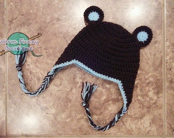 Baby Brown Bear Earflap Hat - Crochet Newborn Beanie Boy Girl Costume Winter  Photo Prop Cap Christmas Outfit