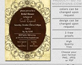 Printable rustic vintage bridal shower invitation template