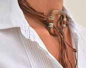 Statement Wood Necklace Leather, Wire Wrapped Choker Lariat, Wood Fringe Necklace, Boho Jewelry