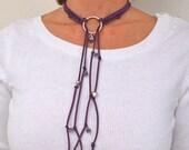 Hoop Necklace of Purple Suede, Flexible Jewelry, Trendy Wrap Bracelet, Beaded Choker