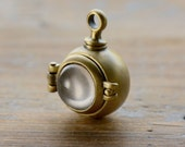 1 - Magnifying Capsule Locket Pendant Glass Bubble Antique Bronze Hinged Locket  Keepsake Locket Shadow Box Vintage Jewelry Supplies (BC083)