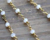 WHITE Glass Bead Chain Faceted 4mm White Beads on 24K GOLD plated 1mm Wire Hand Made Necklace Chain Glass Fixed Bead Chain Jewelry (EA091)