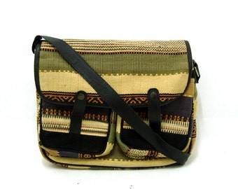 Vintage Ethnic Kilim Woven Messenger Bag Vtg Black Leather Shoulder Bag Olive Striped Crossbody Bag Purse