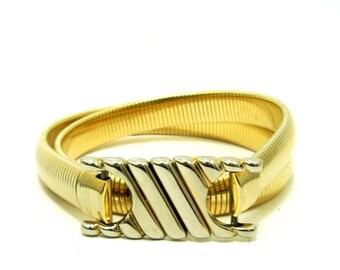 Vintage 80s Gold Metal Serpentine Stretch Belt S M Vtg 1980s Gold Snake Belt Small Medium