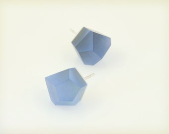 Petite Vu - cerulean blue, silver stud earrings