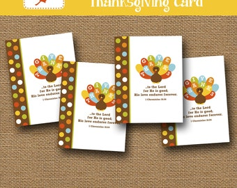 Printable Thanksgiving Card | Kids Thanksgiving Card | DIY PRINTABLE | Scripture, Bible Verse | Colorful Turkey | Give Thanks Printable Card