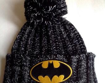 Batman Knit Hat Beanie Pom Pom Black Heather Knit Cuffed // SuzNews Etsy