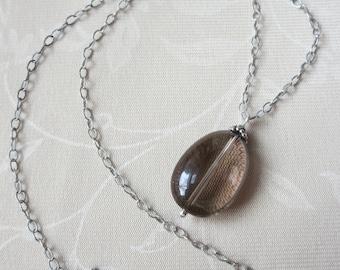 Smoky Quartz Sterling Silver Pendant Necklace