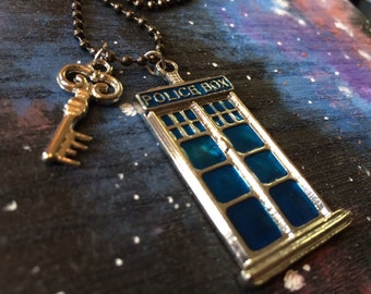 "Blue Police Box Pendant and key Charm on 18"" gun metal necklace"