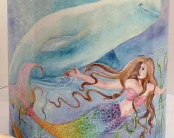 Ceramic Mermaid and Beluga design 11oz Mug, light pink handle