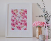 Floral Art Print, Watercolor Peonies Decor, Pink Floral Decor, Inspirational Quote, Love Quote, Pink Art Print, Pink Decor, Wedding Gift