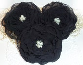 3 x VERY LARGE Hand-made Black Chiffon flowers appliques sew on fabric emellishments for hair pin accessory brooch wedding decor