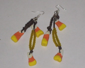 CLEARANCE Clay Candy Corn Earrings