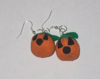 CLEARANCE Jack O Lantern Polymer Clay Earrings