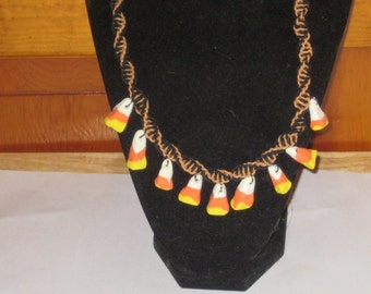 CLEARANCE Candy Corn Necklace on Black and Light Brown Hemp Necklace