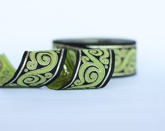 Embroidered trim, 33mm green  Jacquard ribbon, Embroidered border, green black gold Sewing trim, Scroll Jacquard trim,  Woven Border