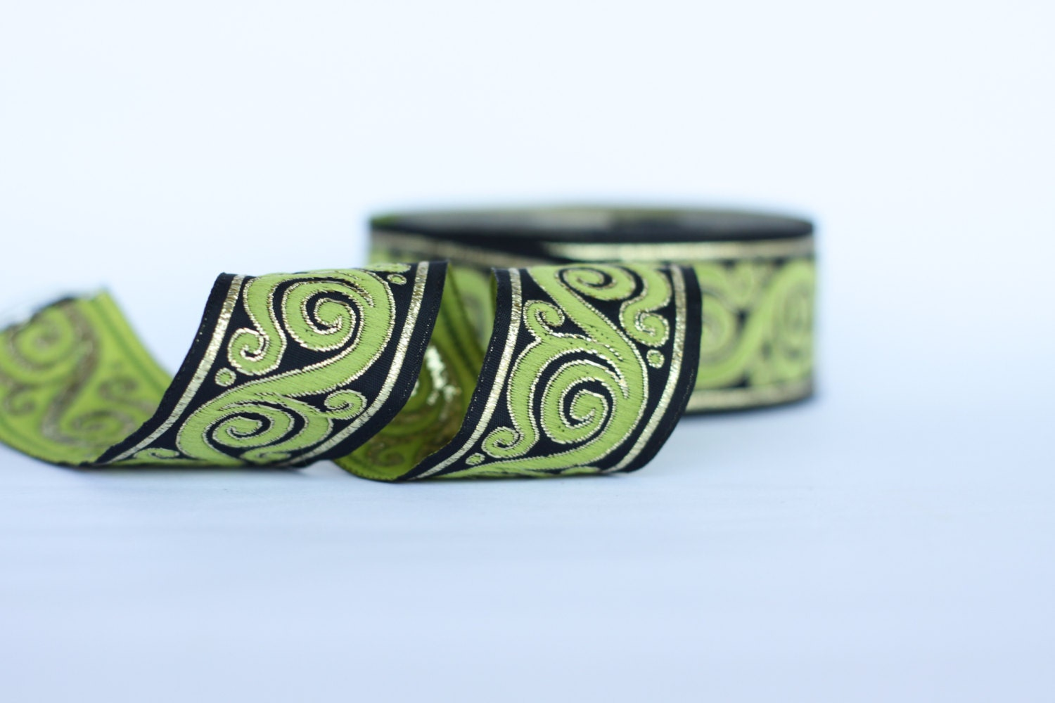 Ribbon embroidery bedspread designs - Embroidered Trim 33mm Green Jacquard Ribbon Embroidered Border Green Black Gold Sewing Trim