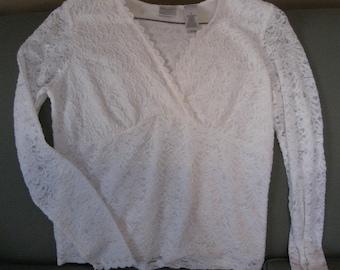 Vintage ladies lace top.  Stretchy.  Dress shirt.  Medium.