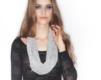 Handmade heathered white Knit long Infinity Scarf