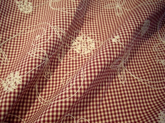 Red natural quot posey french country embroidered