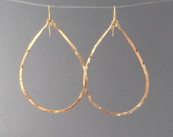 Gold Hammered Teardrop Hoop Earrings