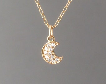 Tiny Gold Crescent Moon Pave Crystal Necklace also in Silver