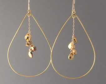 Oversized Gold Teardrop Hoop Earrings