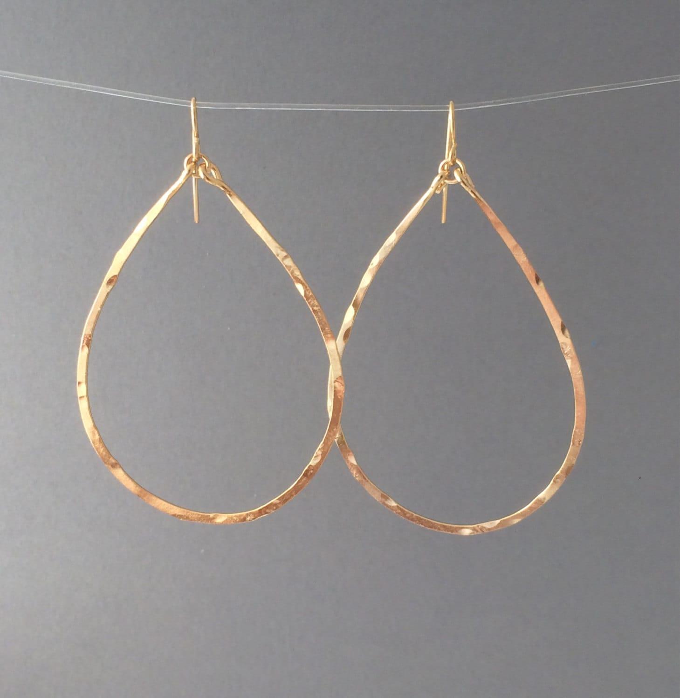 Gold Hammered Teardrop Hoop Earrings By JENNYandJUDE On Etsy
