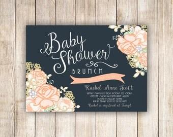 Baby Shower Brunch Peachy Rose Custom Invitation - 007