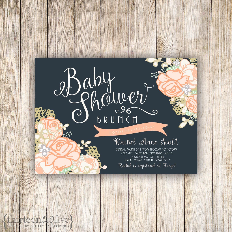 baby shower brunch peachy rose custom invitation 007