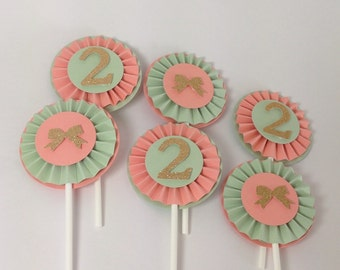 Coral Mint and Gold Bow Rosette Cupcake Toppers   Glitter Bow Cupcake Toppers   Letter Cupcake Topper   1st Happy Birthday   Mint and Gold