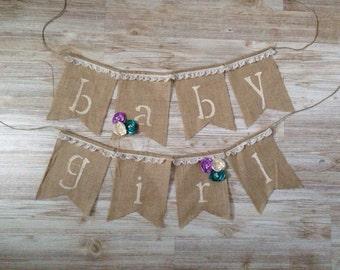 Shabby Chic Vintage Burlap Baby Girl Shower Banner Bunting