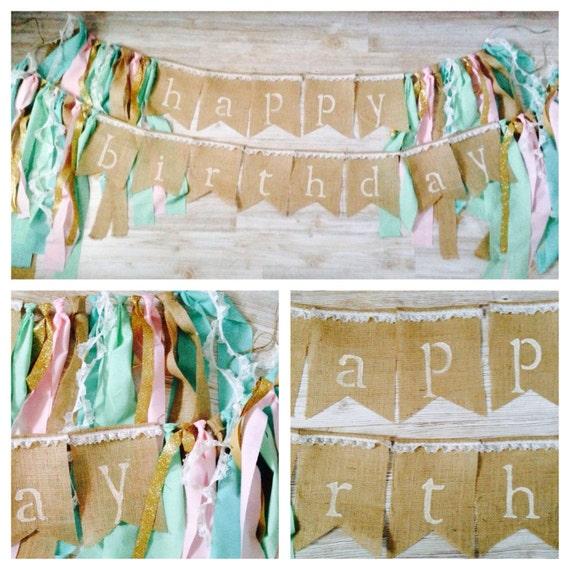 Shabby Chic Whimsical Happy Birthday Burlap Banner Burlap